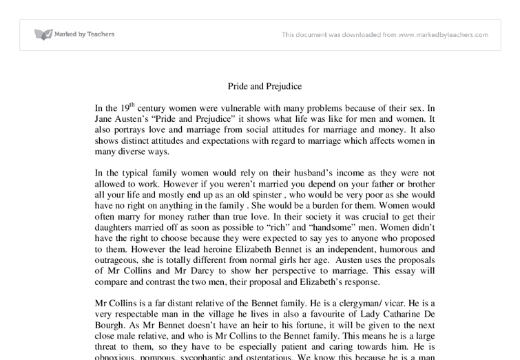"essay on love and marriage in pride and prejudice The pride and prejudice of both ""pride and prejudice"" by jane austen essay food film leadership family company marriage life love medicine character."