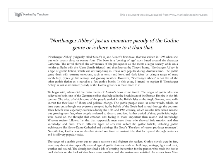 essay on northanger abbey Jane austen's 'northanger abbey' / male vs female education [ send me this essay] a 4 page paper on the differences between the way men and women were educated in eighteenth century england.