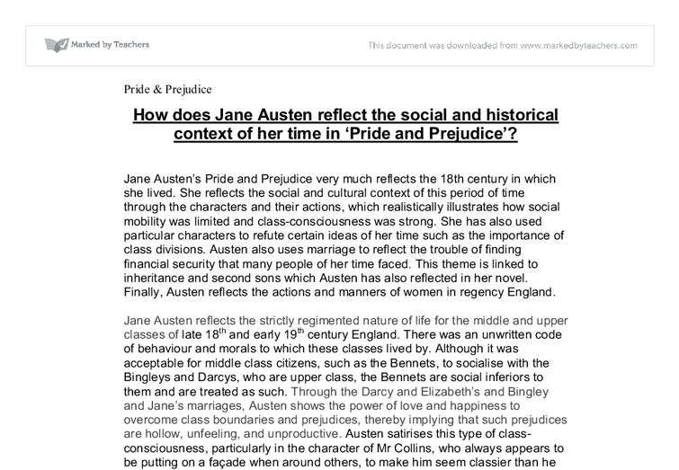 how does jane austen reflect the social and historical context of  document image preview