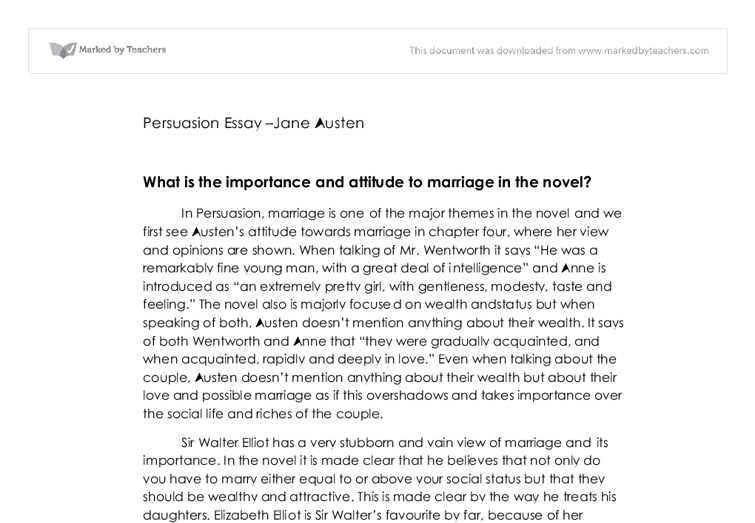 what is the importance and attitude to marriage in the novel  document image preview