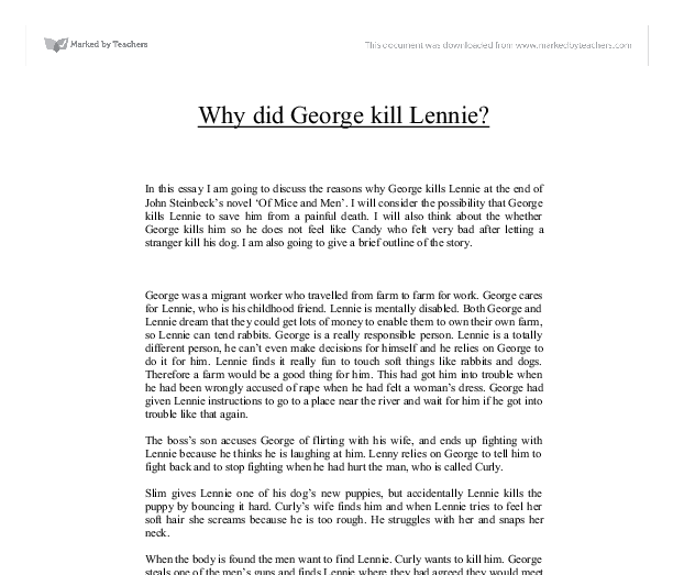 Of Mice and Men George and Lennie's Relationship - Essay