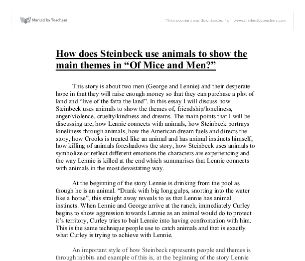 how does john steinbeck use animals in of mice and men essay Advertising essay animal testing art essay child labor essay college essay  the story of of mice and men by john steinbeck words: 1515 pages: 6 paragraphs: 21.