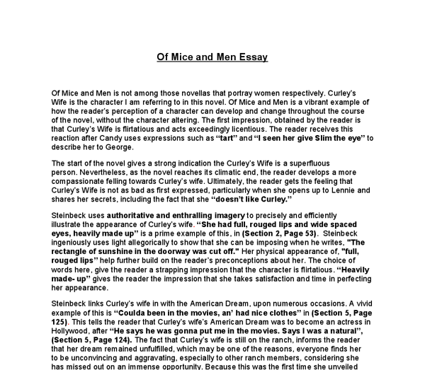the character of curleys wife essay Of mice and men essay plan- curley's wife by jade kinton a common theme within of mice and men is loneliness, and curley's wife is often demonstrated to be a lonely character.