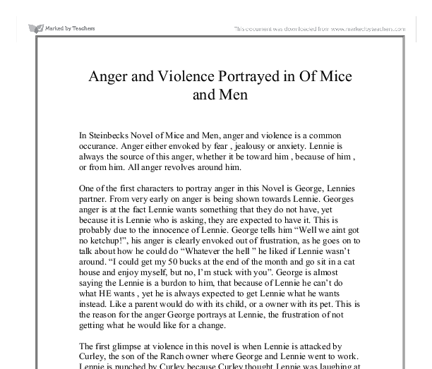 anger and violence portrayed in of mice and men gcse english document image preview