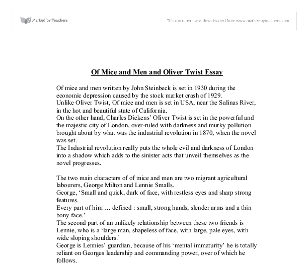 of mice and men and oliver twist gcse english marked by  document image preview