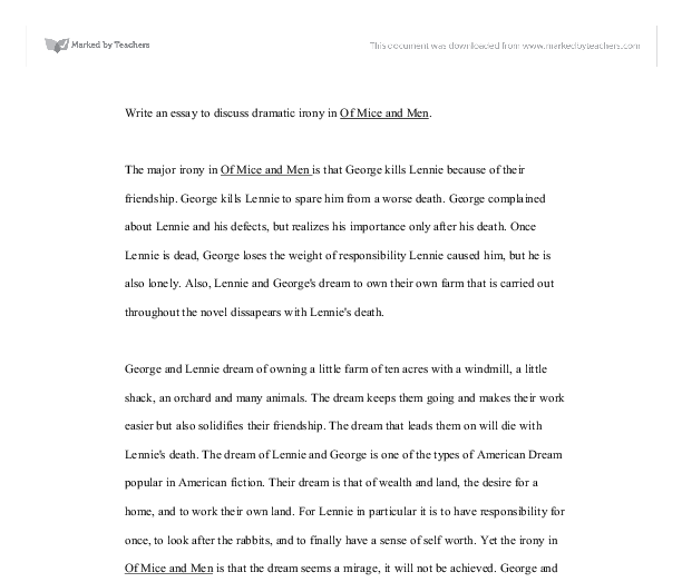 Graduation Day Essay Document Image Preview Critical Essay On Othello also Sample For Argumentative Essay Write An Essay To Discuss Dramatic Irony In Of Mice And Men  Gcse  My Student Life Essay