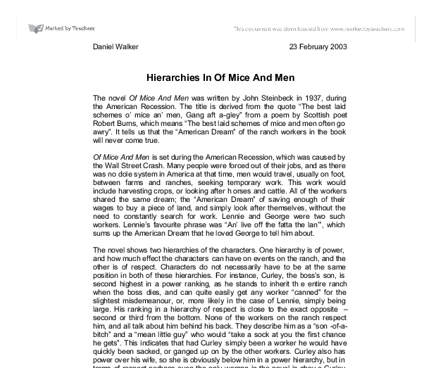 Hierarchies In Of Mice And Men - GCSE English - Marked by Teachers.com