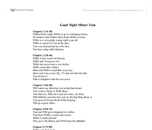 goodnight mister tom chapter summary 20 Good night, mr tom by michelle magorian good night mr tom summary offers high-quality study guides that feature detailed chapter summaries and.