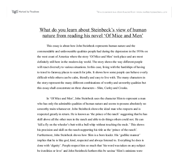 what do you learn about steinbeck s view of human nature from  document image preview