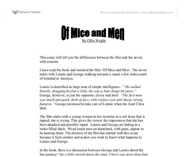 my essay of mice and mmen essay
