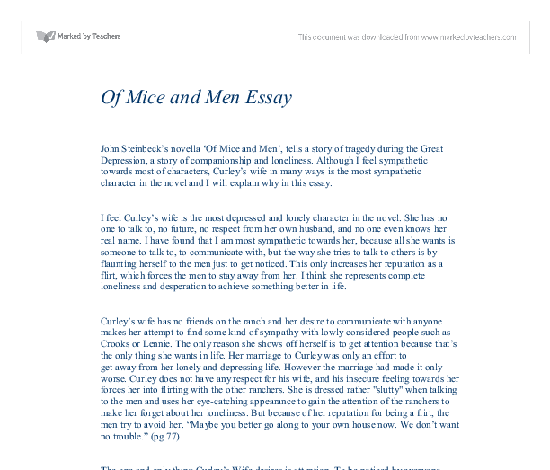 of mice and men curley s wife in many ways is the most  document image preview