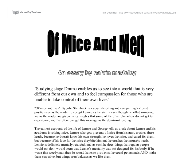 A good essay title of mice and men