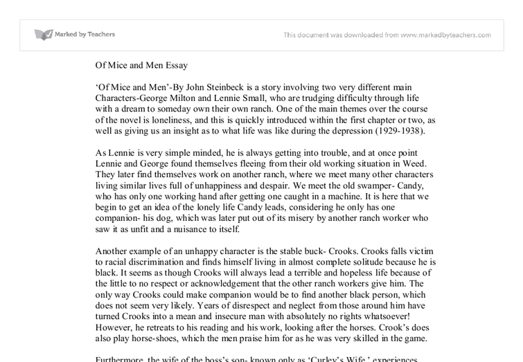 of mice and men essays Read of mice and men free essay and over 88,000 other research documents of mice and men hot thursday late afternoon george and lennie spend the night by the.