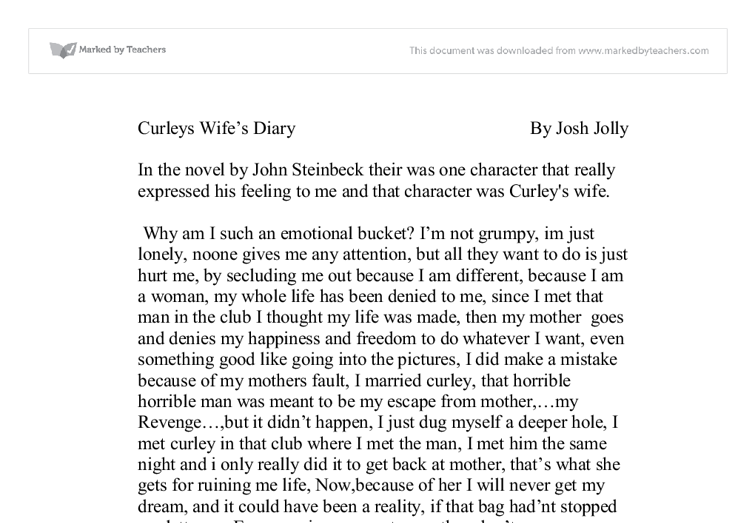 conflict with curleys wife essay example Below is an essay on curleys wife's death from essays, and term paper examples mentioned isolation and conflict that curley's wife's creates with.