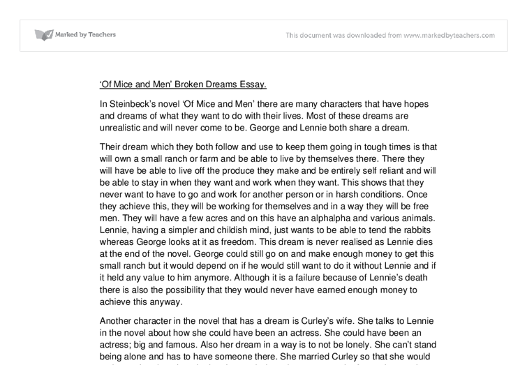 Of Mice and Men' Broken Dreams Essay. - GCSE English - Marked by ...