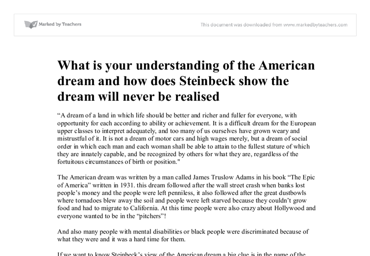 American dream achievable essay