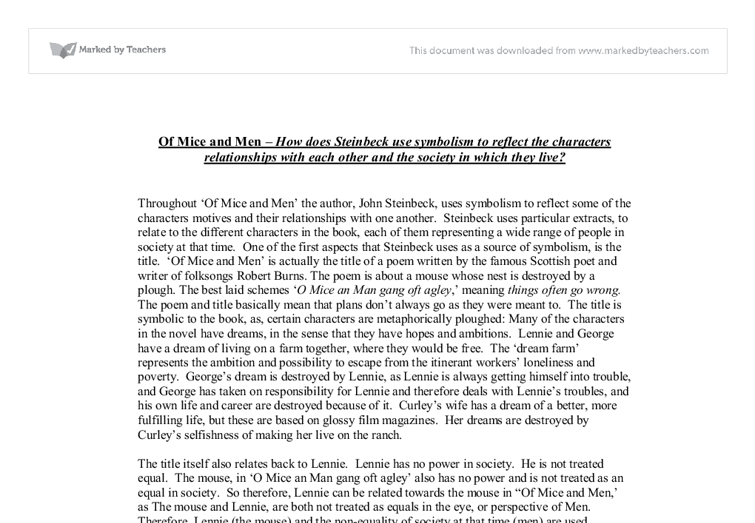 of mice and men essay question of mice and men literary essay  of mice and men how does steinbeck use symbolism to reflect document image preview