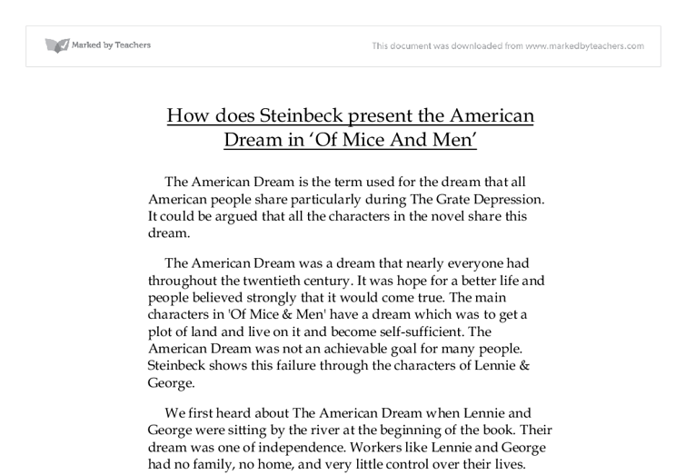 how does steinbeck present the american dream in of mice and men  document image preview