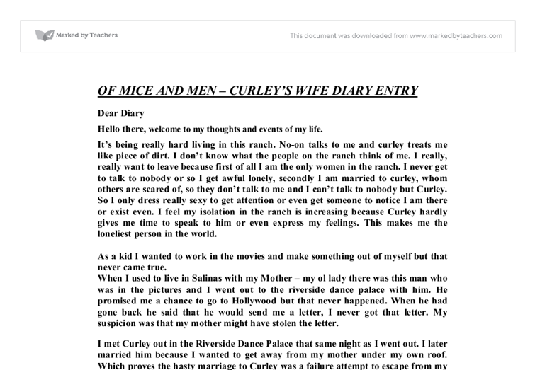 diary entry curleys wife Ppnt with task, pointers to get them thinking and clear success criteria to help students write as the character of curley's wife to explore her character and feelings and how she's treated by her husband and the other men on the ranch.