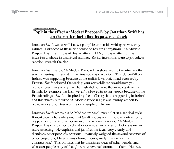 a modest proposal 8 essay Satire in a modest proposal  swift's proposal in his essay is a technique used to highlight a real issue and bring awareness to it by ridiculing the public.