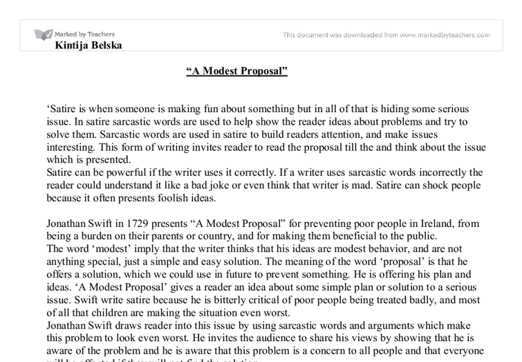 "a modest proposal analysis essay example The whole essay is an example of grim irony and techniques used in ""a modest proposal"" by jonathan swift a modest proposal rhetorical analysis."