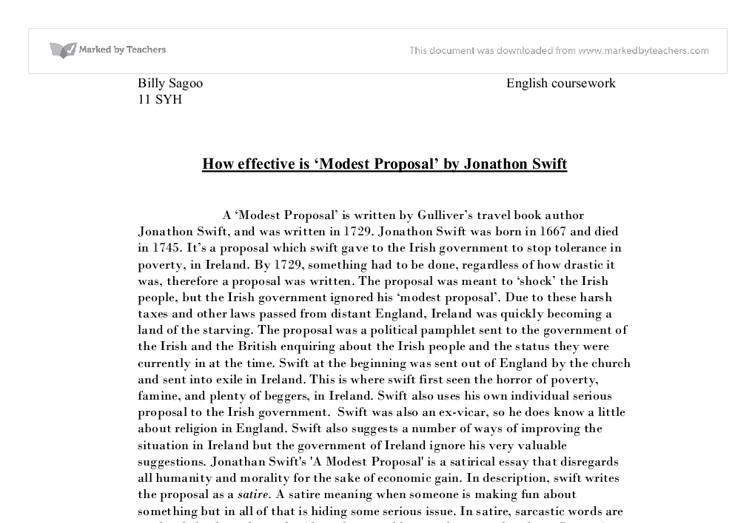 How Effective Is Modest Proposal By Jonathon Swift  Gcse  Document Image Preview