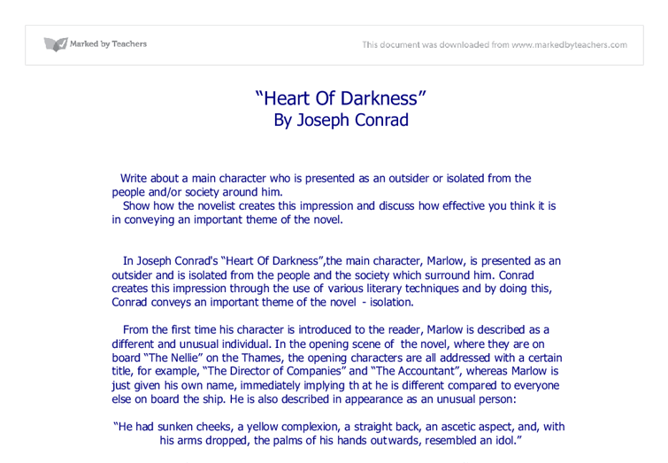 a literary analysis of heart of darkness Conrad and the critics: responses to heart of darkness conrad and the critics: responses to heart of darkness of heart of darkness combine to create a literary.