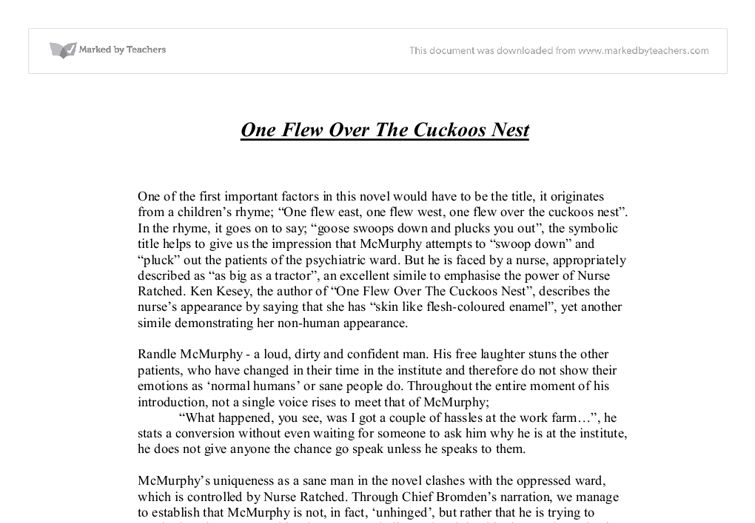 One Flew Over the Cuckoos Nest Example Essays