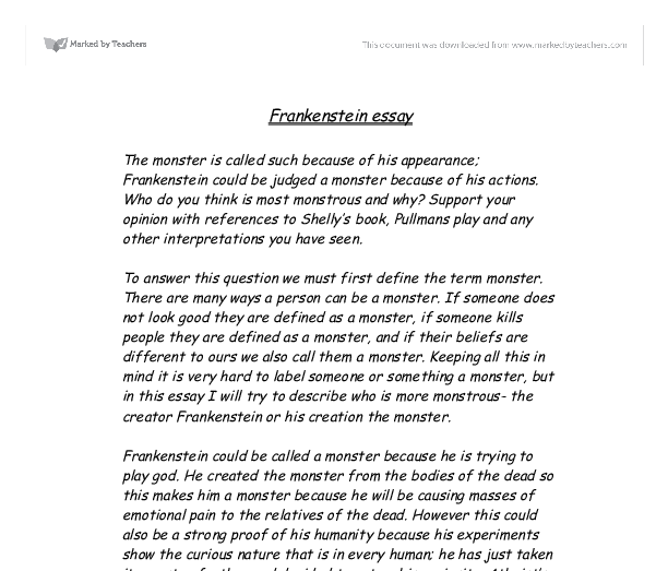 essay for frankenstein critical essay for frankenstein
