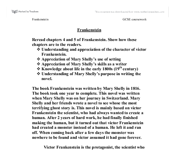 chapter 5 of frankenstein essay A summary of chapters 3–5 in mary shelley's frankenstein learn exactly what happened in this chapter, scene, or section of frankenstein and what it means perfect for acing essays, tests, and quizzes, as well as for writing lesson plans.