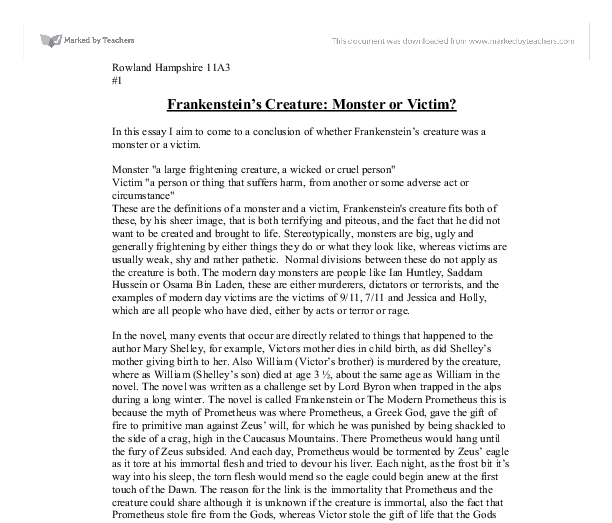 frankenstein monster essays Geovani borjaprofessor batty english 102 14 november 2017 humanity lost monster is a creature that is typically.