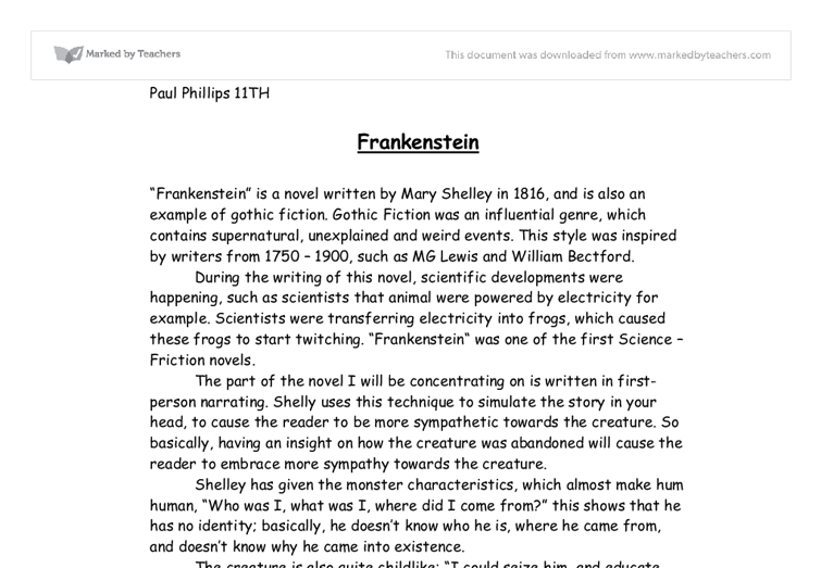 frankenstein by mary shelley essays The monster is alone and feels like an outcast, and mary shelley highlights this by mentioning god's creation of adam as the first human being.
