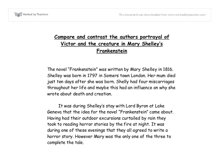 compare contrast essay frankenstein book movie