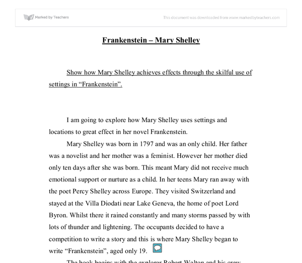 frankenstein titles for essays Literary essay on mary shelley's frankenstein frankenstein is the story of a man whose ambition conducts him to seek for supernatural powers in his attempt to reach a god-like level, he acts basically for his own interest and wants to see his name glorified by humanity power and glory—two of much-discussed human ambitions—are his.