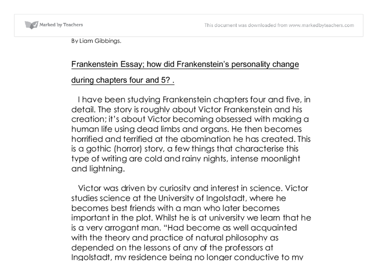 argumentative essay frankenstein The story of frankenstein is one in which the emotions of love and hate are expressed and felt in many different ways throughout the various characters although the.