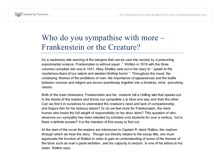 thematic essay on frankenstein Reading between the lines: an analysis of mary shelley's frankenstein, or, the modern prometheus, using horace walpole's the castle of otranto as an example of male discourse about women louise othello knudsen english almen, 10 th semester master's thesis 31-07-2012.