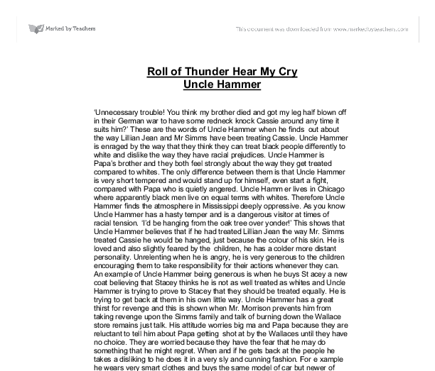cry essay hear roll thunder