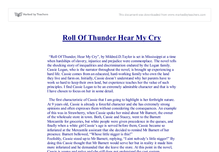 roll of thunder hear my cry gcse english marked by teachers com document image preview