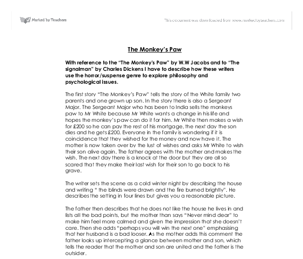 the judges house and the monkeys paw essay Compare the atmosphere in the house at the beginning of the story to the atmosphere in the house at monkey's paw , money gain/greed write a persuasive essay.
