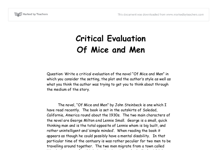 Of Mice And Men Essay Examples - Free Literary Analysis, Argumentative and Persuasive Essays