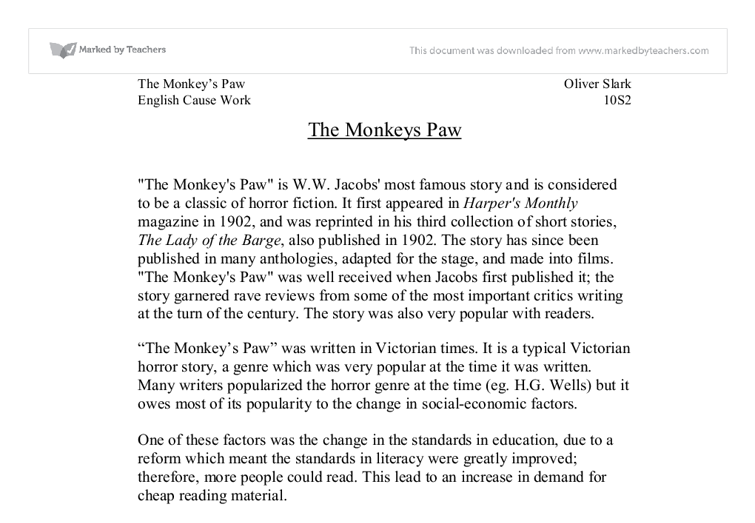 "tension and suspense in the monkeys paw essay Cause and effect essay the monkeys paw the story, ""the monkey's paw,"" is about a small family, a husband, mr white, his wife, mrs white, and their adult son, herbert the family is relaxing and enjoying each others company, while father and son play chess."