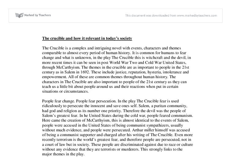 The crucibles relevance to todays society essay