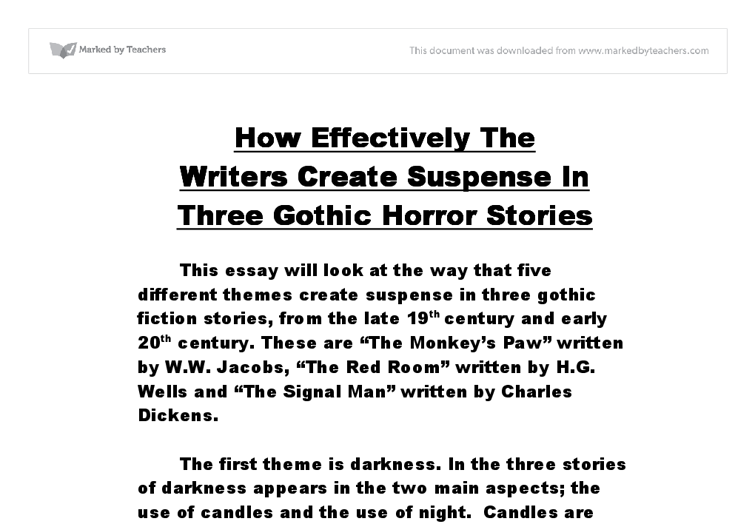 gcse gothic horro essay stories Series of power points designed to help students to write their own gothic short story.