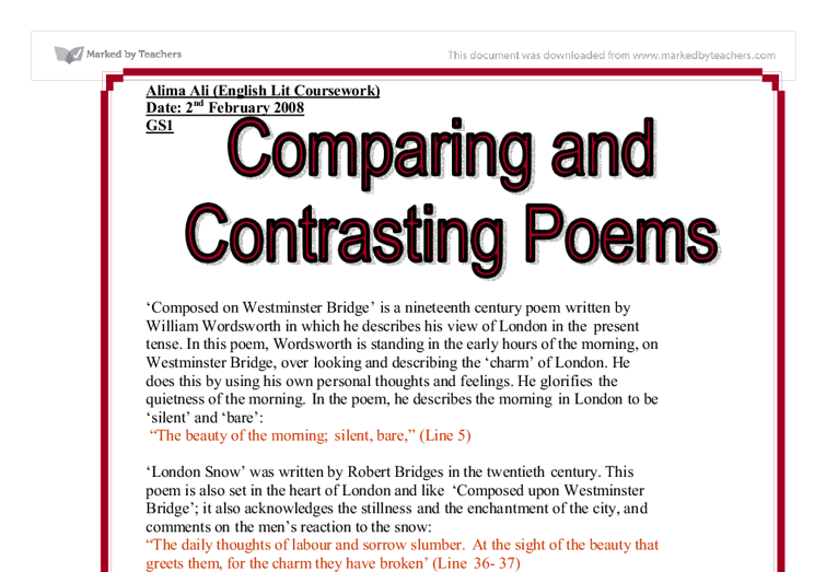 comparing and contrasting poems essay Clrc writing center 2/09 writing a compare/contrast essay the following example contains an element of the author's opinion, but not.
