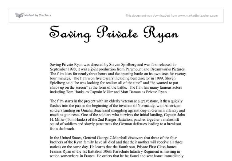 saving private ryan essay introduction Essay writing guide learn the art of brilliant essay writing with help from our teachers introduction 'saving private ryan' media essay from blood to bullets.