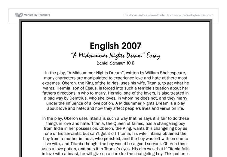 critical dream essay midsummer night Important themes in a midsummer night's dream and how shakespeare changed fairy-lore.