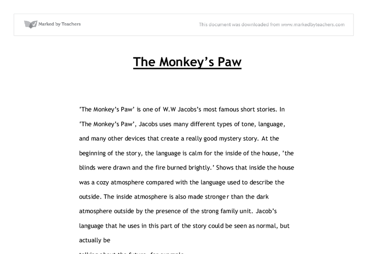 Narrative essay for the monkey paw