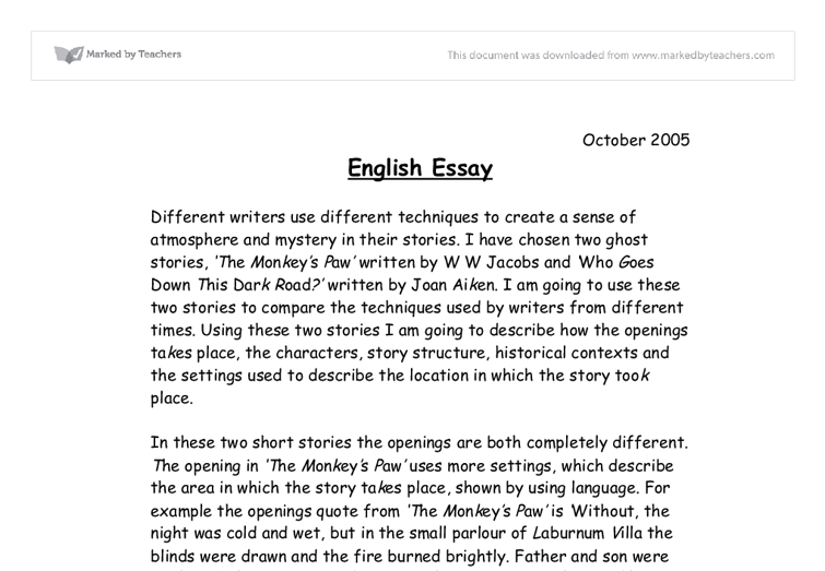 english essay example Essay examples would vary according to the type of essay you wish to write four kinds of essays exist including: narration, description, exposition, and argument.