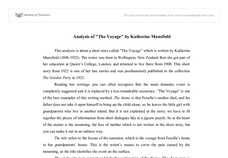 analysis of the voyage by katherine mansfield gcse english document image preview