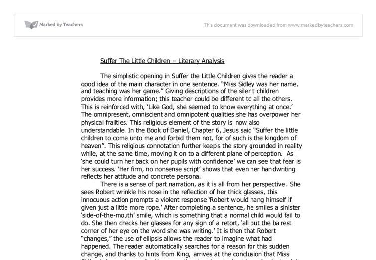 a literary analysis of suicide in suffer the little children by stephen king Suffer the little children: uses of the past in jewish and african american children's literature, by jodi martin luther king jr and rabbi abraham joshua.
